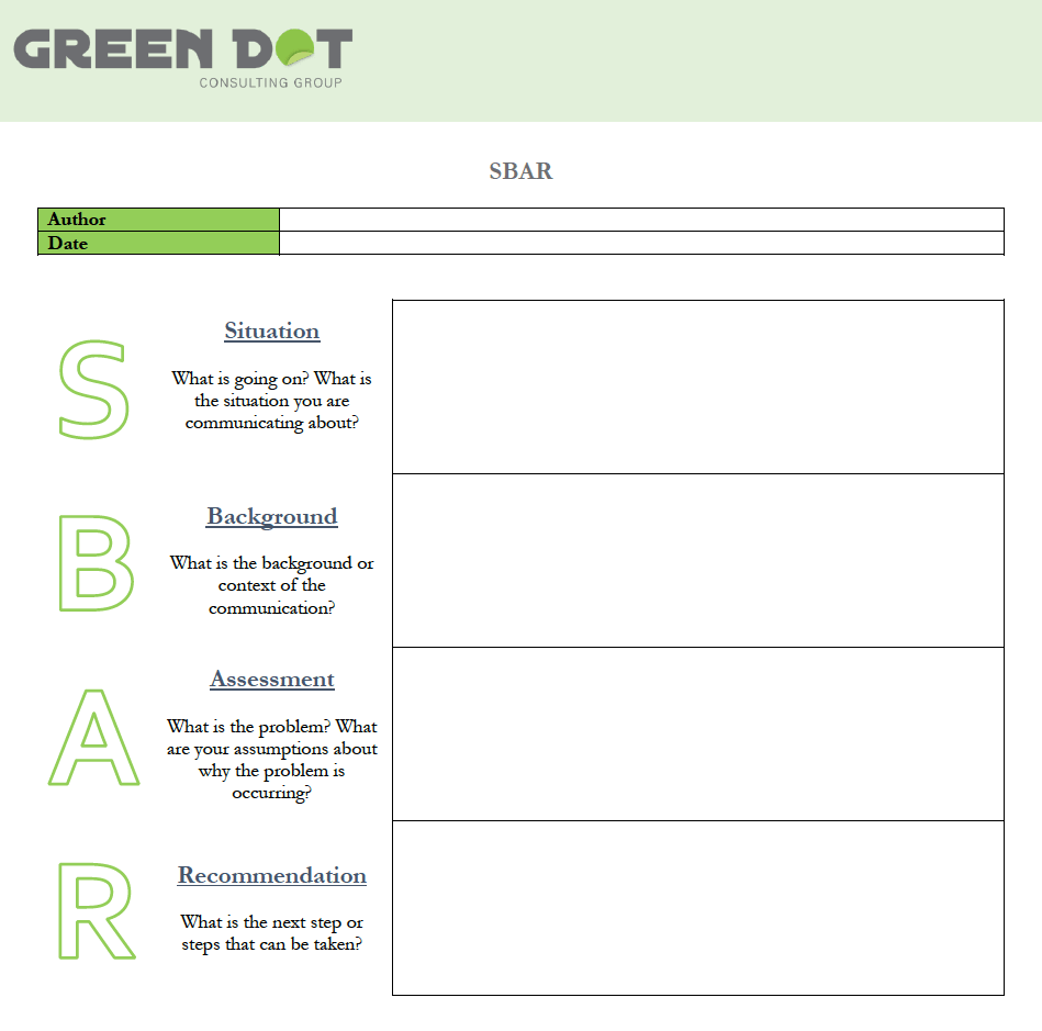 SBAR Template (Word)  The Green Dot Consulting Group Within Sbar Template Word